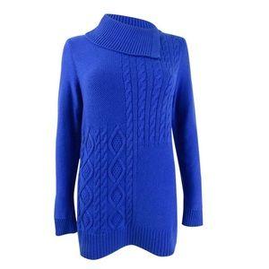 Charter Club Sweater Blue Asymmetric Collar Sz XL